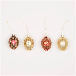 Set of 4 Red & Gold Heirloom Oval Baubles