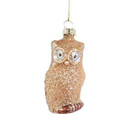 Gold Glitter Owl Shaped Bauble