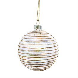 Iridescent Gold Striped Glass Bauble