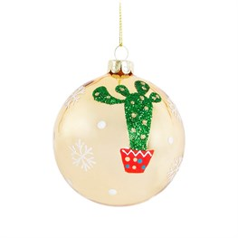 Golden Christmas Cactus Bauble