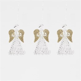 Set of 3 Glass Praying Angels Hanging Decorations