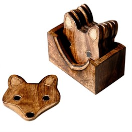 Set of 6 Wooden Fox Coasters