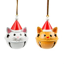 Cat in Christmas Hat Bell Decoration Assorted