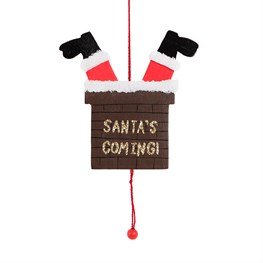 Santas Coming Chimney Legs Pulley Decoration