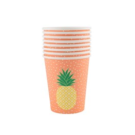 Set of 8 Tropical Summer Pineapple Paper Cups