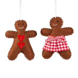 Festive Gingerbread Boy & Girl Hanging Decoration Assorted