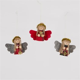 Tartan Angel Doll with Bell Hanging Decoration Assorted