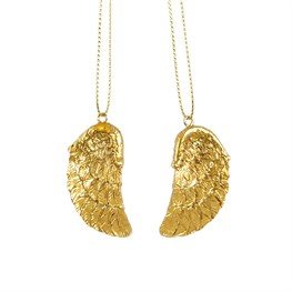 Golden Angel Wing Hanging Decorations - Set of 2