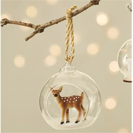 Winter Forest Folk Deer Open Bauble