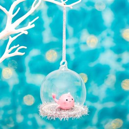 Wonderland Pink Narwhal Dome Bauble