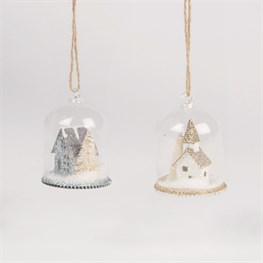 Glitter House Snow Globe Dome Bauble Assorted