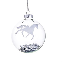Silver Star Unicorn Bauble