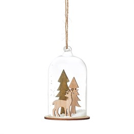 Natural Wood Stag In Forest Dome Bauble