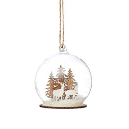 Stags In Snow Mini Dome Bauble