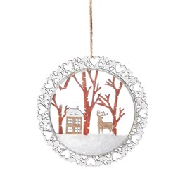 Snowy House In Forest Flat Bauble