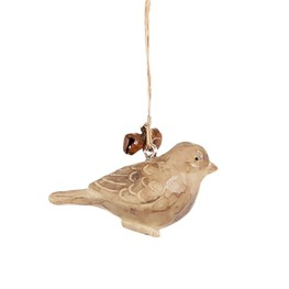 Carved Wood Bird Hanging Bell Decoration