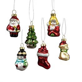 Set of 6 Glitzy Mini Christmas Characters Hanging Decorations