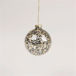 Clear Bauble with Black & Gold Sequins