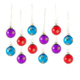 Festive Brights Gold Star Mini Baubles - Set of 12