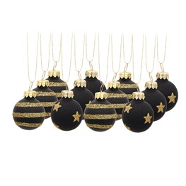 Gold and Black Baubles - Set of 12