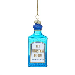 Blue Gin Bottle Shaped Bauble