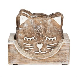 Wooden Carved Cat Coaster - Set of 6