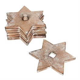 Rustic White Star Coasters - Set of 6