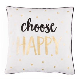 Choose Happy Metallic Monochrome Cushion with Inner