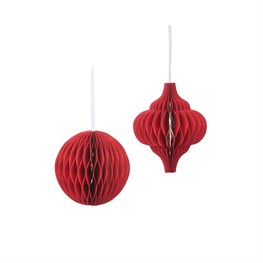 Red Honeycomb Paper Hanging Decorations Assorted
