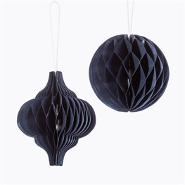 Blue Honeycomb Paper Hanging Decorations Assorted