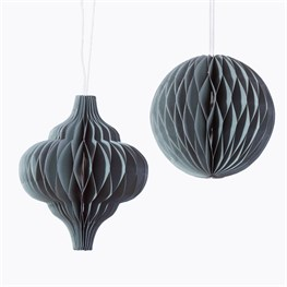 Grey Honeycomb Paper Hanging Decorations Assorted