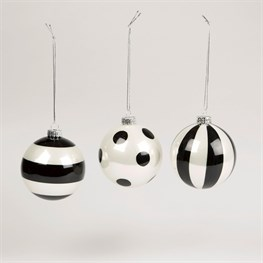 Monochrome Striped & Polka Dot Bauble Assorted