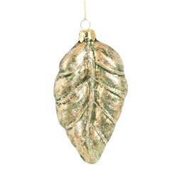 Gilded Gold Botanical Leaf Shaped Bauble