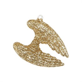 Gold Glitter Angel Wings Shaped Bauble