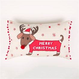 Merry Dachshund with Antlers Cushion