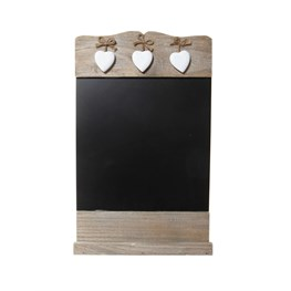 Black Chalkboard & 3 Wooden Hearts
