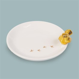 Robin Round Plate with Gold Detail