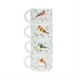 Set of 4 Garden Birds Stacking Mugs