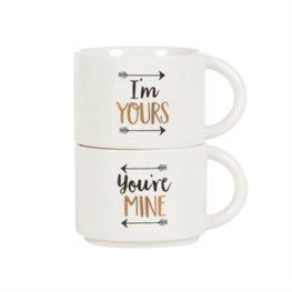 Set of 2 You'Re Mine & I'm Yours Stacking Mugs