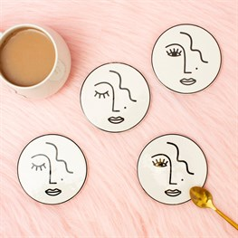 Abstract Face Coasters - Set of 4