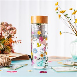Pressed Flowers Glass Water Bottle With Infuser