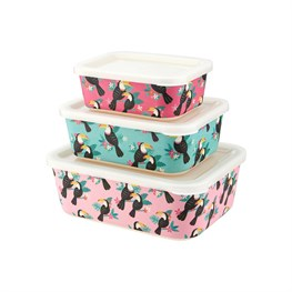 Set of 3 Toucan Bamboo Lunch Boxes