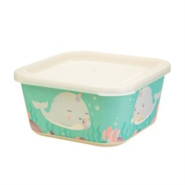 Alma Narwhal Bamboo Square Lunch Box