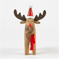 Rustic Rudolph with Hat Standing Decoration
