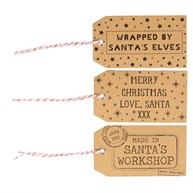 Brown Santas Workshop Gift Tags - Set of 15