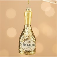 Lets Celebrate Glitter Prosecco Bottle Shaped Bauble