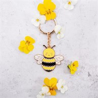 Bee Happy Enamel Keyring