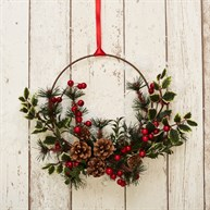 Festive Foliage Hoop Wreath Hanging Decoration