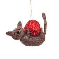 Cat With Ball of Yarn Felt Decoration