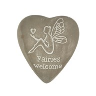 Fairies Welcome Engraved Heart Pebble